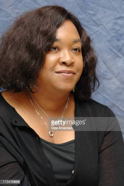 Shonda Rhimes creator during 'Grey's Anatomy' Press Conference with Patrick Dempsey at Four Seasons Hotel in Beverly Hills California United States