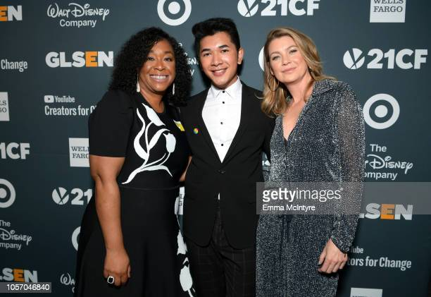 Shonda Rhimes Darid Prom and Ellen Pompeo attend the GLSEN Respect Awards at the Beverly Wilshire Four Seasons Hotel on October 19 2018 in Beverly...