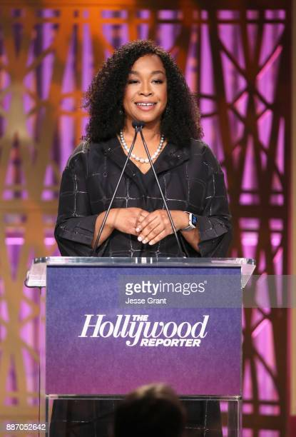 Shonda Rhimes speaks onstage at The Hollywood Reporter's 2017 Women In Entertainment Breakfast at Milk Studios on December 6 2017 in Los Angeles...