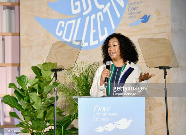 Shonda Rhimes speaks onstage during Dove's Launch of Girl Collective The First Ever Dove SelfEsteem Project MegaEvent on October 6 2018 in Los...