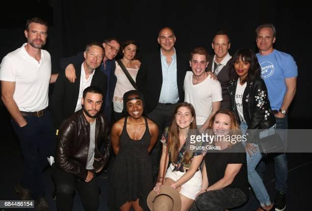 "Shondaland"" stars Kerry Washington, Jack Falahee, George Newbern, Josh Malina, Scott Foley and Tom Vernica pose backstage with the cast at the hit..."