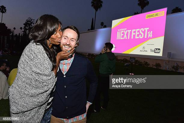 Shondrella Avery and Aaron Ruell attend the Sundance NEXT FEST screening of 'Napoleon Dynamite' at Hollywood Forever on August 7 2014 in Hollywood...