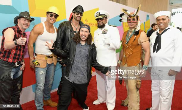 Shonduras with Chad Freeman James Kwong JJ Lippold Victor Willis Angel Morales and Sonny Earl of Village People at the 2017 Streamy Awards at The...
