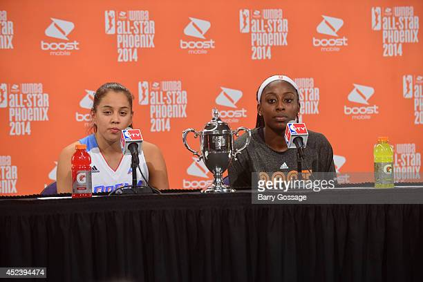 Shoni Schimmel of the Eastern Conference AllStars and Chiney Ogwumike talk to the media following the 2014 Boost Mobile WNBA AllStar Game on July 19...