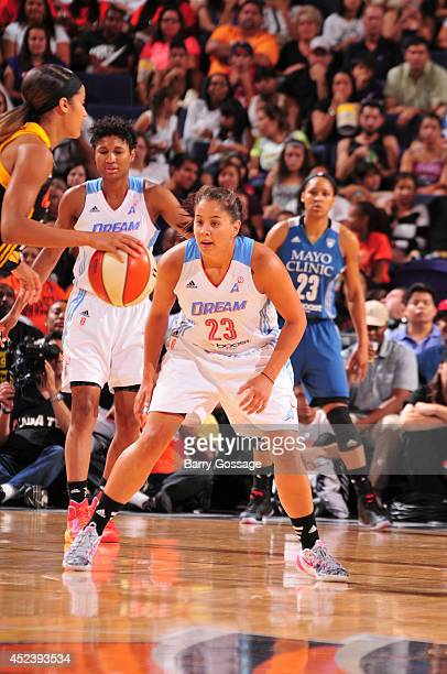 Shoni Schimmel of the Eastern Conference AllStars defends during the 2014 Boost Mobile WNBA AllStar Game on July 19 2014 at US Airways Center in...