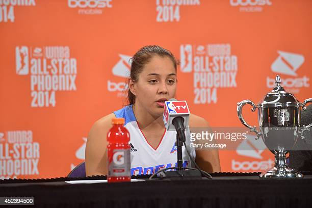 Shoni Schimmel of the Eastern Conference AllStars talks to the media following the 2014 Boost Mobile WNBA AllStar Game on July 19 2014 at US Airways...