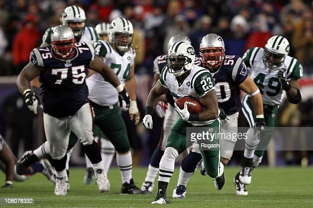 Shonn Greene of the New York Jets runs down field against the New England Patriots during their 2011 AFC divisional playoff game at Gillette Stadium...