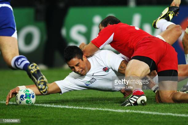 Shontayne Hape of England touches over the line to score their second try during the IRB 2011 Rugby World Cup Pool B match between England and...