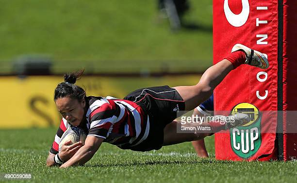 Shontelle Dudley of Counties scores a try during the round six Women's Provincial Championship match between Counties Manukau and Otago at ECOLight...