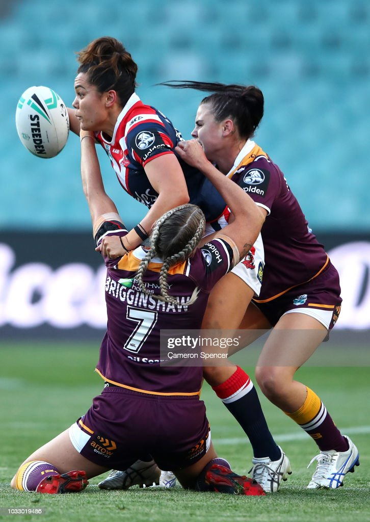 Shontelle Stowers of the Roosters is tackled during the round two Women's NRL match between the Sydney Roosters and the Brisbane Broncos at Allianz Stadium on September 14, 2018 in Sydney, Australia.