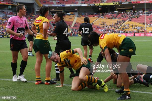 Shontelle Woodman of the Ferns drops the ball during the 2017 Rugby League Women's World Cup Final between Australia and New Zealand at Suncorp...