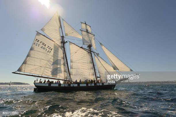 Shooner La Recouvrance taking part in the 7th edition of the Brest International Maritime Festival a festival hosting one of the largest gatherings...