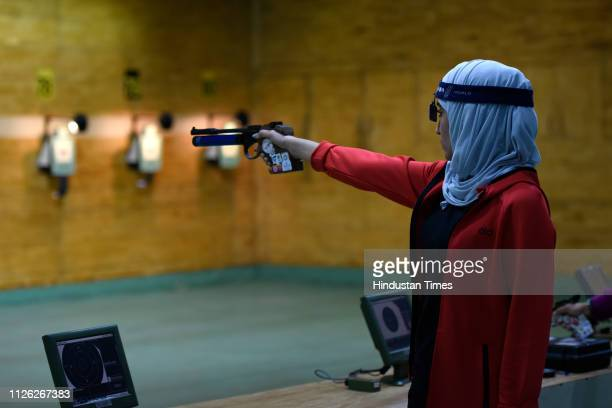 A shooter from Oman is seen during a practice session of ISSF Rifle and Pistol World Cup at Dr Karni Singh Shooting Range on February 20 2019 in New...