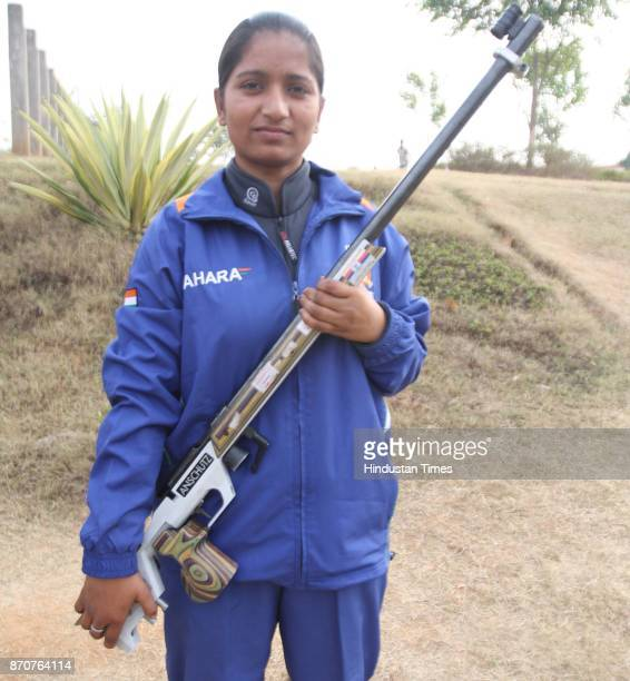 Shooter Geeta Kumari of Bihar with her Air rifle in the ongoing 34th National Games at Mega sports Complex Hotwar in Ranchi