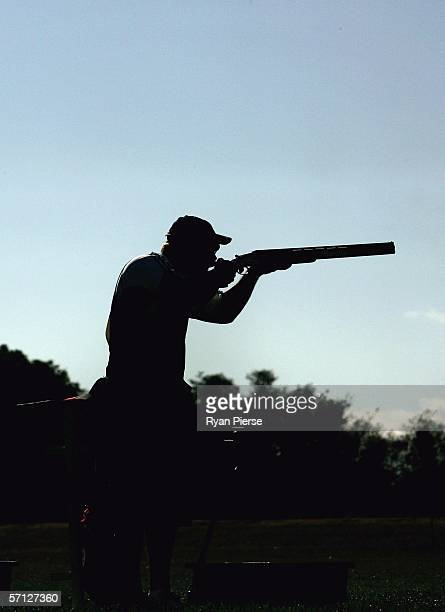 Shooter in action during the Men's Double Trap Pairs during day four of the Melbourne 2006 Commonwealth Games at Melbourne Gun Club March 19, 2006 in...