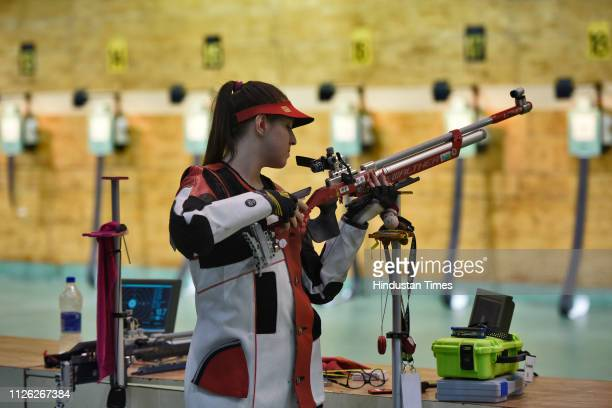 A shooter is seen during a practice session of ISSF Rifle and Pistol World Cup at Dr Karni Singh Shooting Range on February 20 2019 in New Delhi India