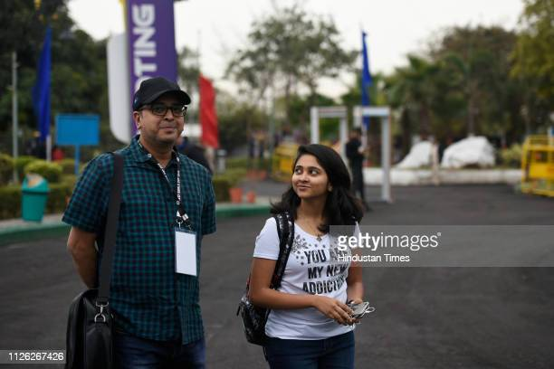 Shooter Mehuli Ghosh along with her coach Joydeep Karmakar seen after the practice session during ISSF Rifle and Pistol World Cup at Dr Karni Singh...