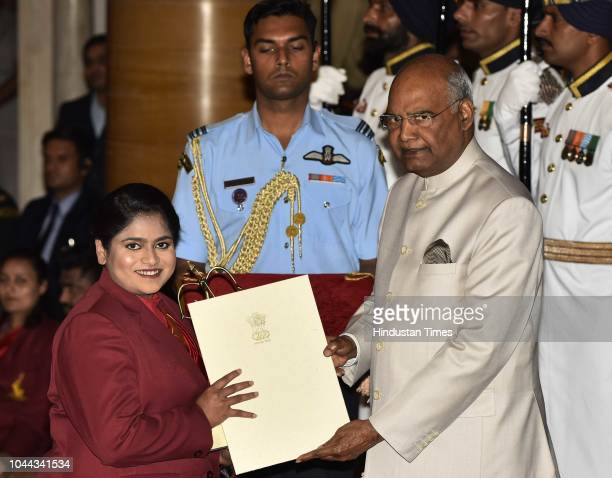 Shooter Rahi Sarnobat receives Arjuna Award 2018 for her achievements in shooting from President Ram Nath Kovind at National Sports and Adventure...