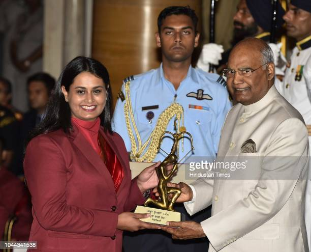 Shooter Shreyasi Singh receives Arjuna Award 2018 for her achievements in Shooting from President Ram Nath Kovind at National Sports and Adventure...