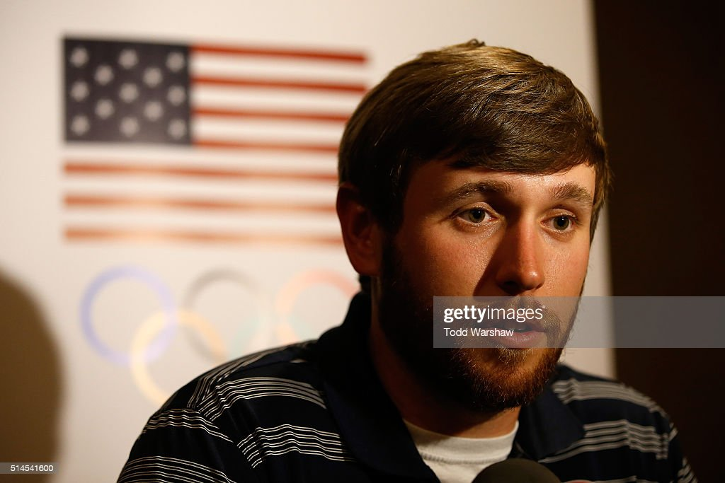 Shooter Vincent Hancock addresses the media at the USOC Olympic Media Summit at The Beverly Hilton Hotel on March 9, 2016 in Beverly Hills, California.