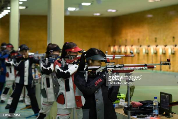 Shooters are seen during a practice session of ISSF Rifle and Pistol World Cup at Dr Karni Singh Shooting Range on February 20 2019 in New Delhi India
