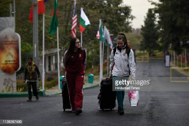 Shooters arrive for practice session for ISSF Rifle and Pistol World Cup at Dr Karni Singh Shooting Range on February 20 2019 in New Delhi India