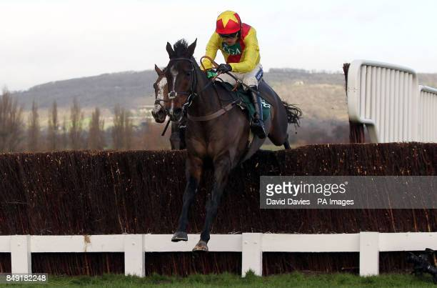 Shooters Wood ridden by Ruby Walsh on their way to victory in the Jenny Mould Memorial Handicap Chase during day two of The International meeting at...