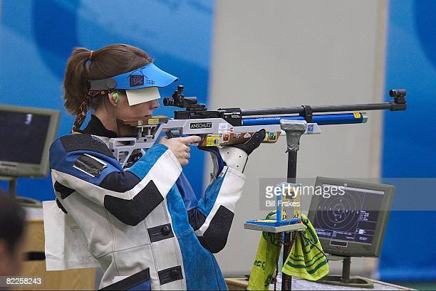 2008 Summer Olympics Czech Republic Katerina Emmons in action preparing to shoot during Women's 10M Air Rifle Final at Beijing Shooting Range Hall...