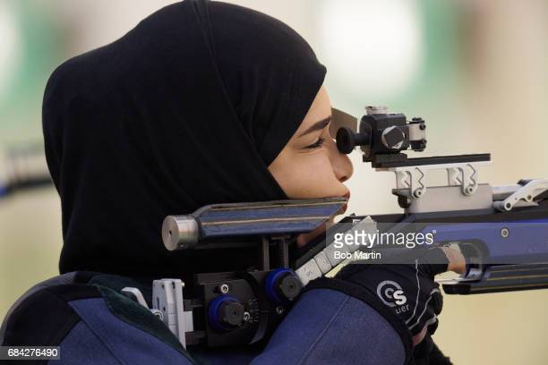 4th Islamic Solidarity Games Closeup of Oman Amina Al Tarshi n action during Women's 10M Air Rifle Shooting at Baku Shooting Centre Baku Azerbaijan...