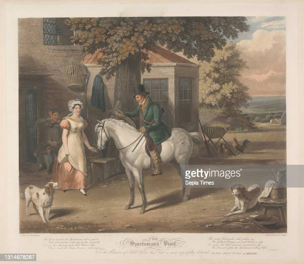 The Sportsman's Visit, Charles Hunt, 1803–1877, British, And George Hunt, active 1820–1840, British, after E. F. Lambert, active 1790–1846 Aquatint,...