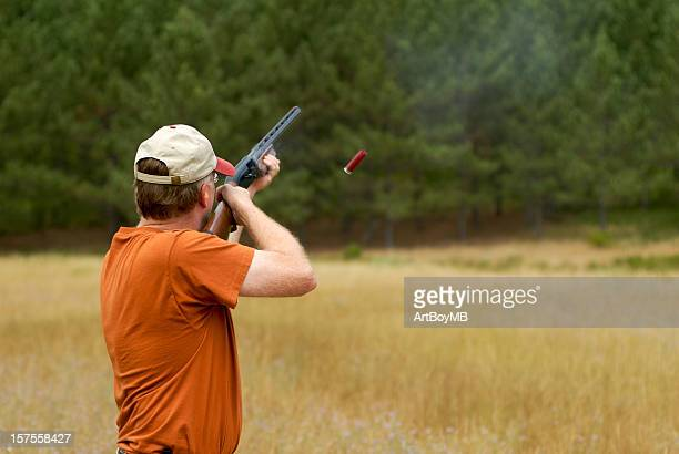 Shooting a shotgun shell casing in air