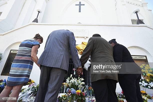 Shooting at The Emanuel African Methodist Episcopal Church Charleston SC People gather at a memorial in front of church on Thursday June 18 2015 in...