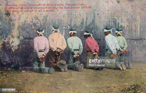 Shooting Cuban Prisonsers in Moro Castle Havana Cuba 1910 Scene of common occurance during the Revolution 189598 This place is visited by all...