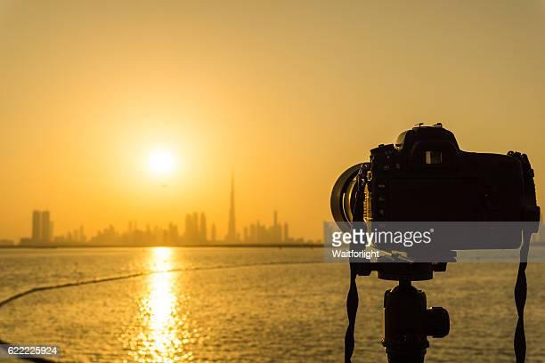 Shooting dubai skyline sunset at dubai greek