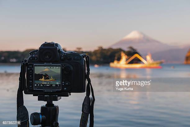 Shooting Mount Fuji at a Fishing Port