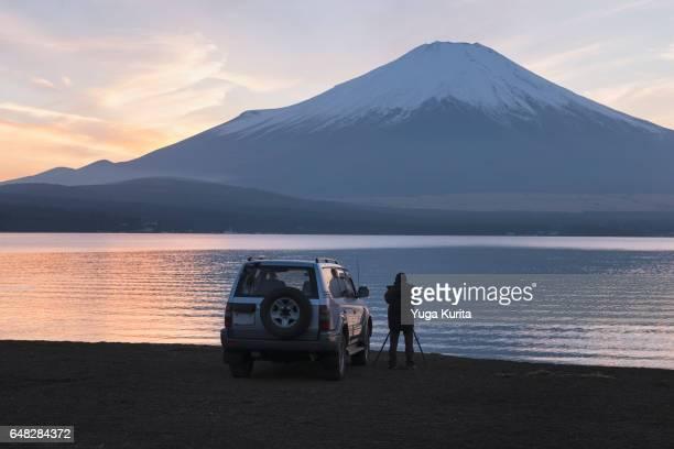 shooting mt. fuji - fuji hakone izu national park stock photos and pictures