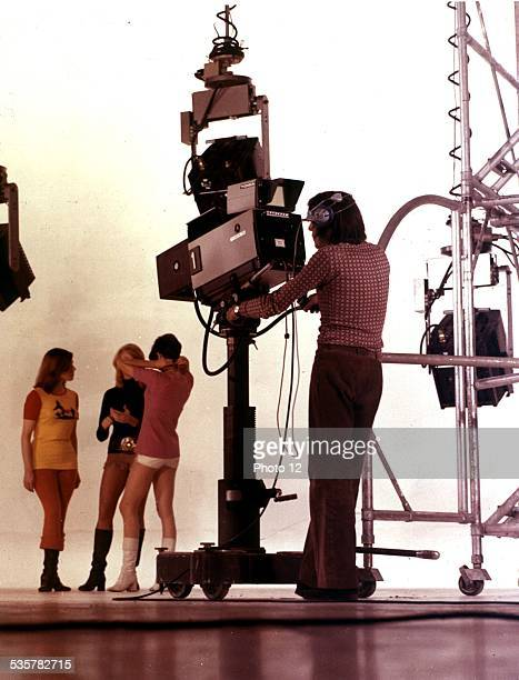 Shooting of a colour movie for the ORTF in a studio at the Buttes Chaumont Paris c 1970 France