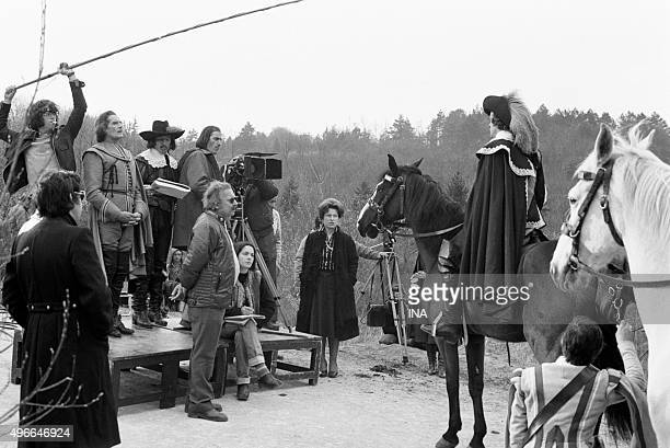 Shooting of a scene of the fiction inspired by Georges SAND's novel Bernard Borderie manages Jean François Poron on his horse under the attentive eye...