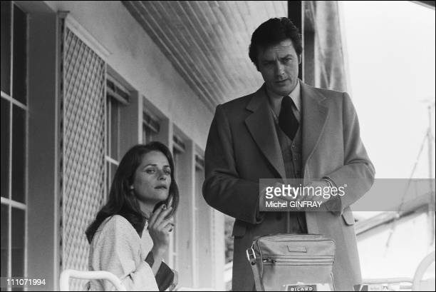 Shooting Of 'Comme Un Boomerang' Alain Delon Charlotte Rampling In France On April 1976