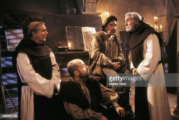 Shooting of Jose Luis Cuerda´s film ´La Marrana´ From left to right the actors Manuel Alexandre Antonio Resines Alfredo Landa and Fernando Rey in a...