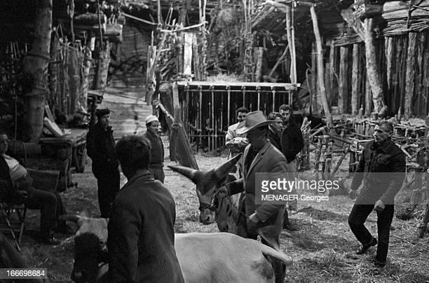 Shooting Of 'La Bible' By And With John Huston En janvier 1968 sur le tournage du film 'La Bible' du réalisateur John HUSTON des techniciens et des...