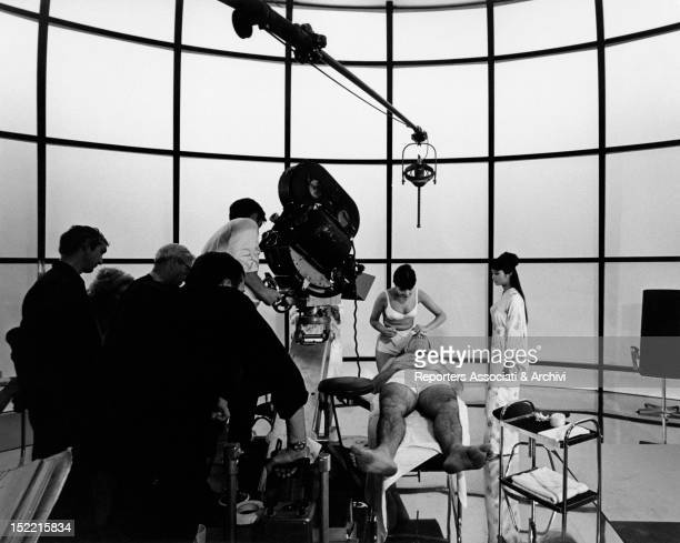 Shooting of scene with Sean Connery and Jeanne Roland in a fitness centre from the film You only live twice it's the fifth episode of James Bond's...