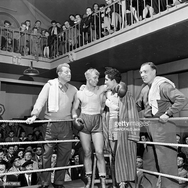 Shooting Of The Film 'Air De Famille' By Marcel Carne Paris Avril 1956 Lors du tournage du film' AIR DE PARIS' de Marcel CARNE de gauche à droite...