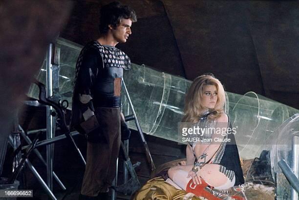 Shooting Of The Film 'Barbarella' By Roger Vadim In Rome. Tournage du film 'BARBARELLA' de Roger VADIM à ROME, adapté de la bande dessinée de...