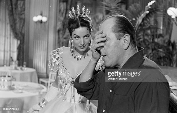 Shooting Of The Film 'la Belle Otero' By Richard Pottier En France en 1954 sur le tournage du film 'La belle Otero' Maria FELIX portant une robe et...