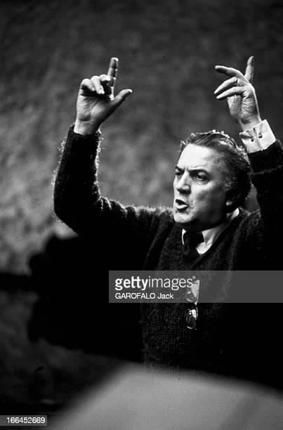 Shooting Of The Film 'Satyricon' Federico Fellini Italie Rome janvier 1969 dans les studios de cinéma de 'Cinecitta' tournage du film 'Satyricon' du...