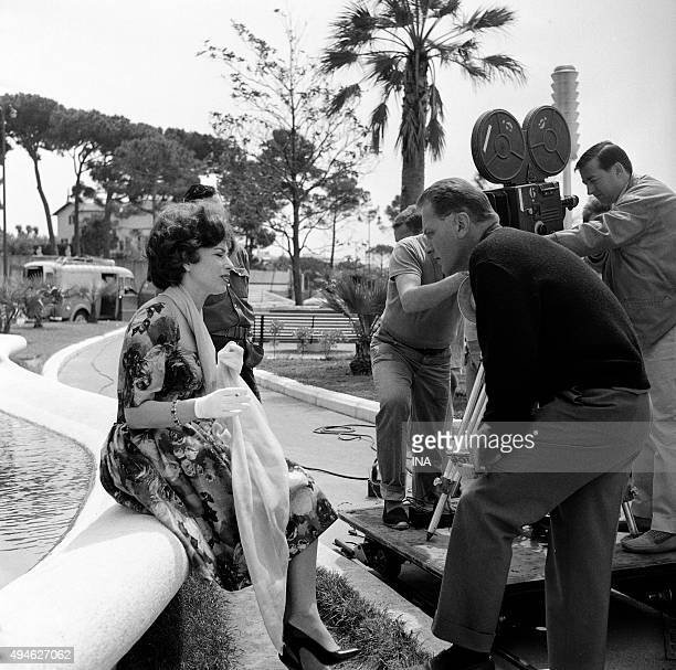 Shooting of the interview of Haya Harareet by François Chalais within the framework of the Cannes film festival