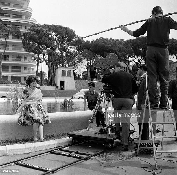 Shooting of the interview of Haya Harareet during the Cannes film festival
