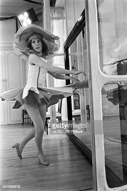 shooting of the movie Les Demoiselles de Rochefort by Jacques Demy in the city hall of Rochefort the actresses Catherine Deneuve on June 1966