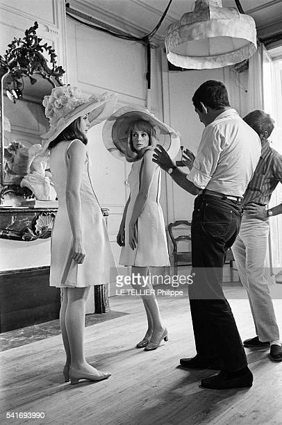 shooting of the movie Les Demoiselles de Rochefort by Jacques Demy in the city hall of Rochefort the choreographer Norman Maen and the actresses...